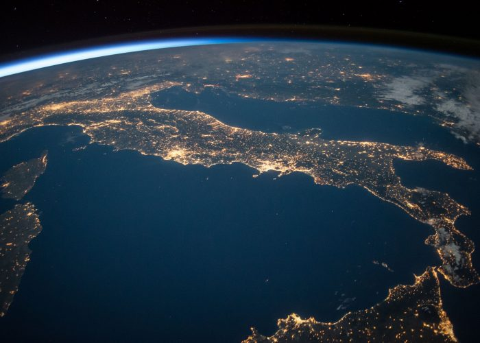 Image of the earth from space at night.